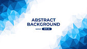 Abstract polygonal background. Geometric triangular low poly graphic. Colorful blue and white gradient. Simple modern design. Banner, flyer, cover template. Flat style vector eps10 illustration.