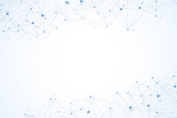 stockillustraties, clipart, cartoons en iconen met abstracte veelhoekige achtergrond met aaneengesloten lijnen en punten. minimalistische geometrische patroon. molecuul-structuur en communicatie. grafische plexus achtergrond. wetenschap, geneeskunde, technologie concept. - maaswerk