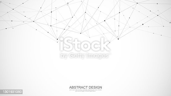 istock Abstract polygonal background with connecting dots and lines. Global network connection, digital technology and communication concept 1301931050