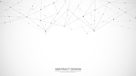 Abstract polygonal background with connecting dots and lines. Global network connection, digital technology and communication concept. Vector illustration