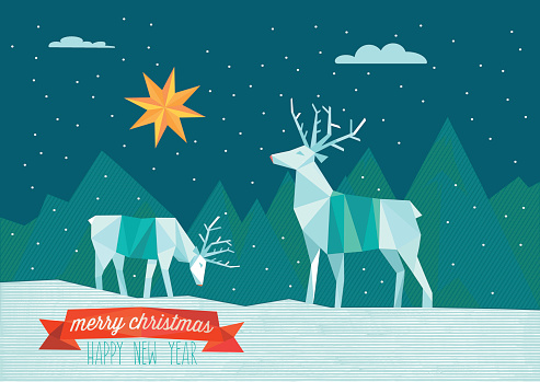 abstract polygonal christmas illustration with reindeers in winter landscape