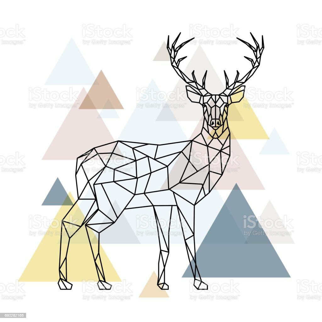 Resumen ciervos poligonales. Ilustración geométrica hipster. Reno con vista lateral. Estilo escandinavo. Ilustración de vector. - ilustración de arte vectorial