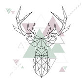 Abstract polygonal deer. Geometric hipster minimal style. Vector illustration.Abstract polygonal deer. Geometric hipster minimal style. Vector illustration.
