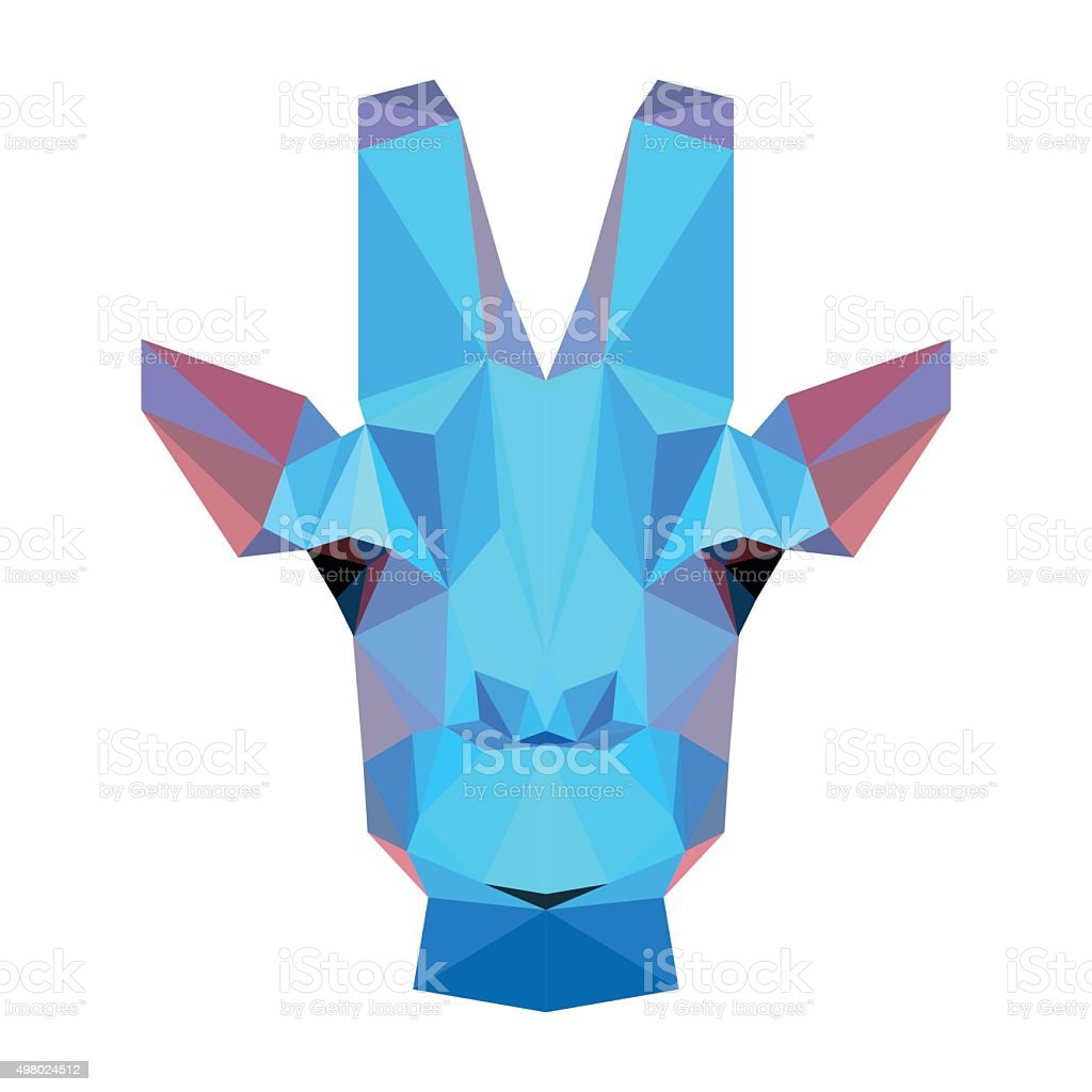 Abstract Polygonal Geometric Triangle Blue Giraffe Portrait Isolated On White Royalty Free
