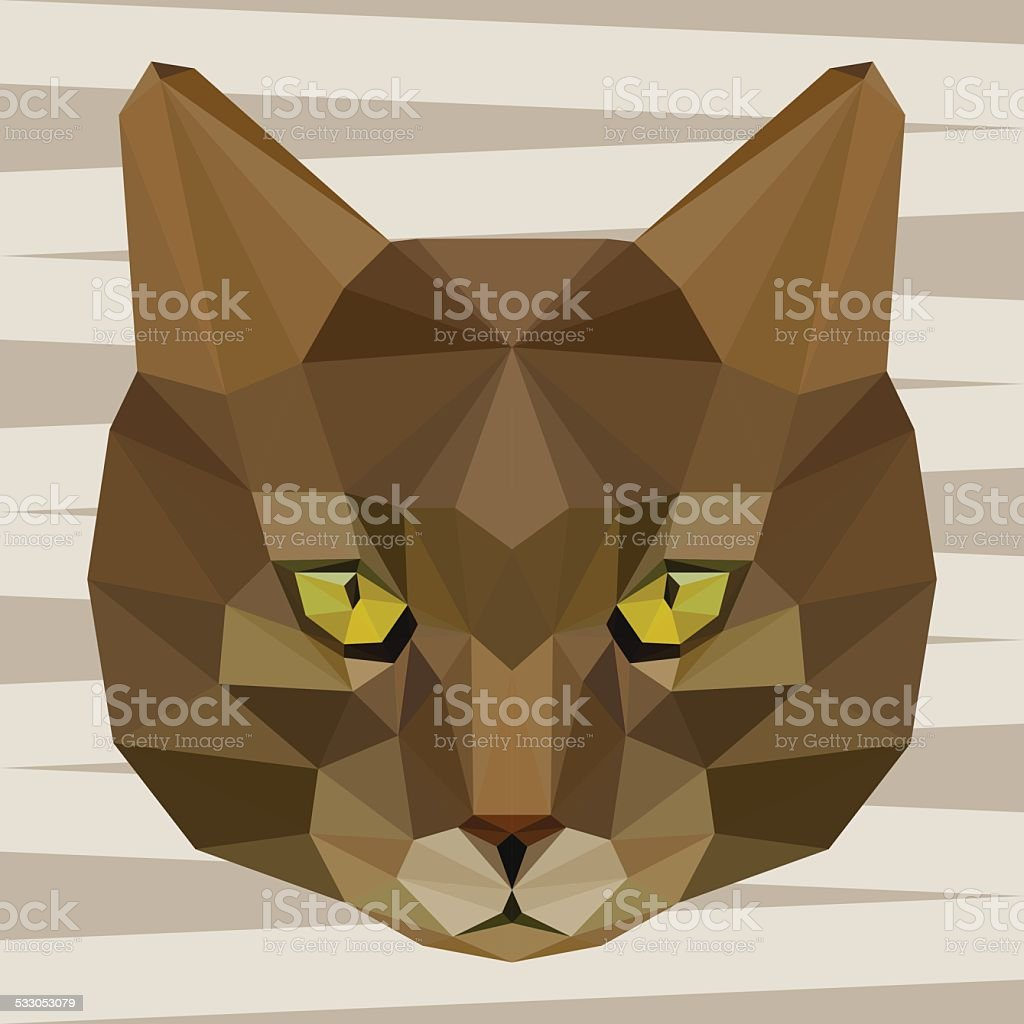 Abstract polygonal geometric triangle brown cat  background vector art illustration