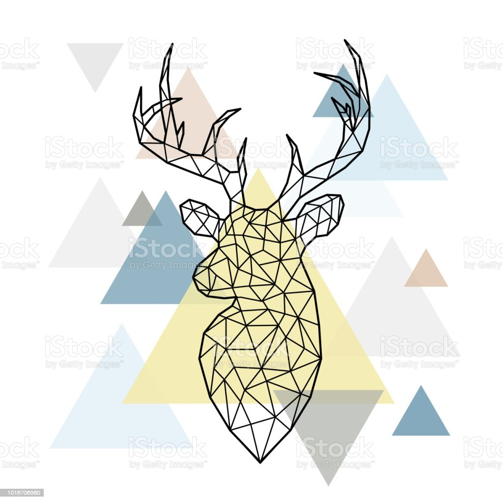 Abstract polygonal head of a forest deer on simple triangles background. Scandinavian style. Vector illustration. vector art illustration