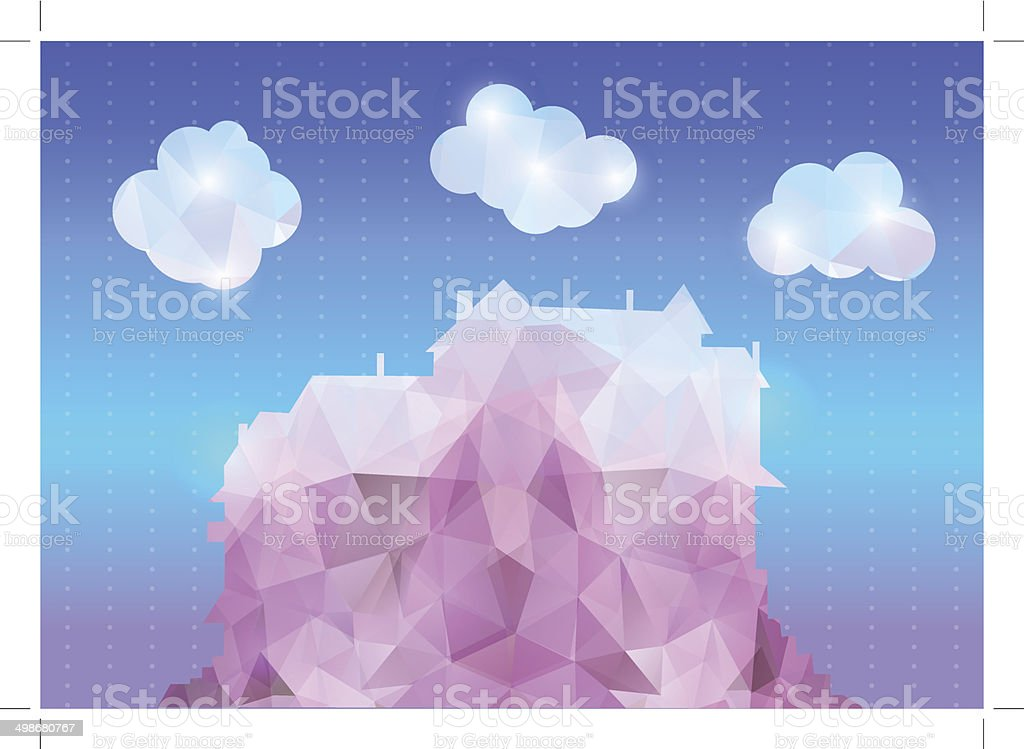 Abstract polygonal house with clouds and background royalty-free stock vector art