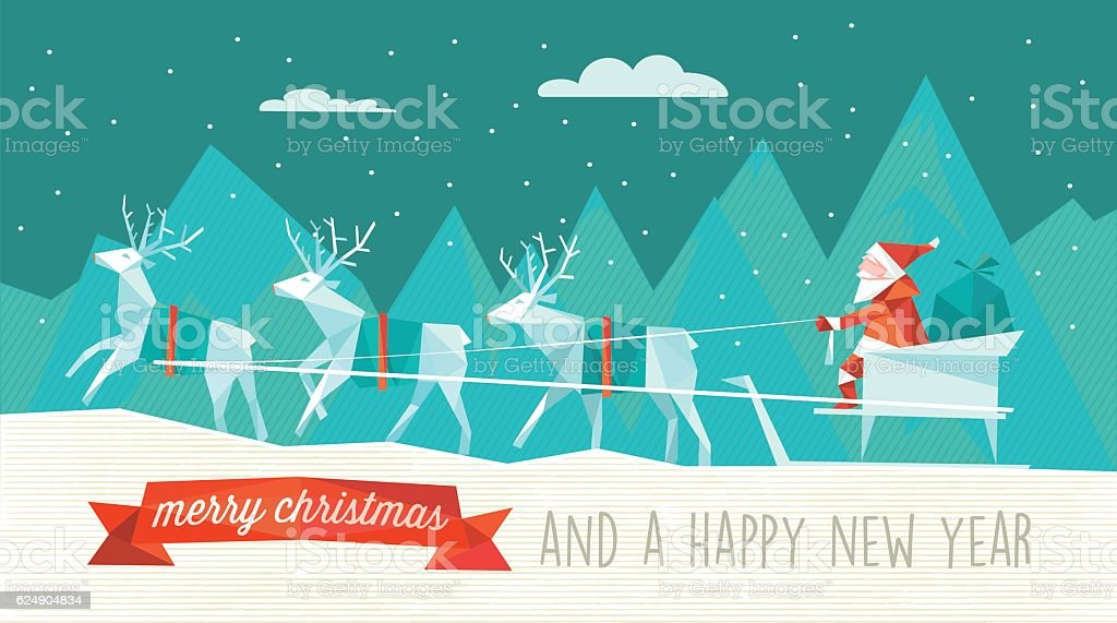 abstract polygonal illustration of santa sleigh in winter landscape vector art illustration