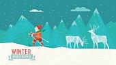polygonal  illustration of skiing man in winter landscape