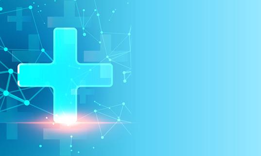Abstract polygonal light design of medical cross
