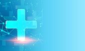 istock Abstract polygonal light design of medical cross 1288608412
