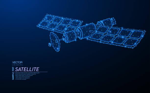 ilustrações de stock, clip art, desenhos animados e ícones de abstract polygonal light design of orbital satellite - wireframe solar power