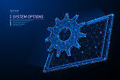 Abstract polygonal light design of tablet with cog gear. Business mesh spheres from flying debris. Tablet system option concept. Blue lines, dots structure style vector 3D illustration.