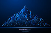 Abstract polygonal light of mountains. Business wireframe mesh spheres from flying debris. Climbing route to top rock concept. Blue structure style vector illustration.