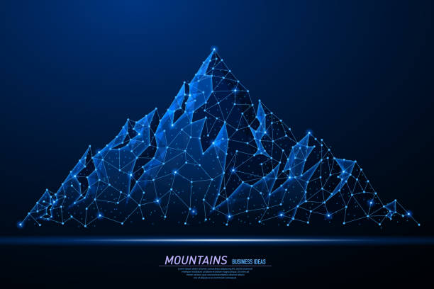 Abstract polygonal light of mountains. Abstract polygonal light of mountains. Business wireframe mesh spheres from flying debris. Climbing route to top rock concept. Blue structure style vector illustration. mountain top stock illustrations