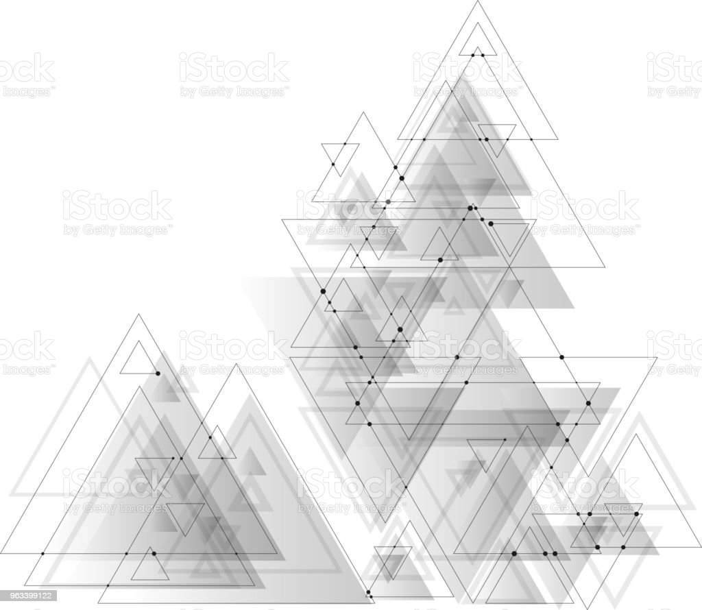 Abstract polygonal low poly vector background with gray triangles, connecting dots and lines. Connection structure - Grafika wektorowa royalty-free (Abstrakcja)