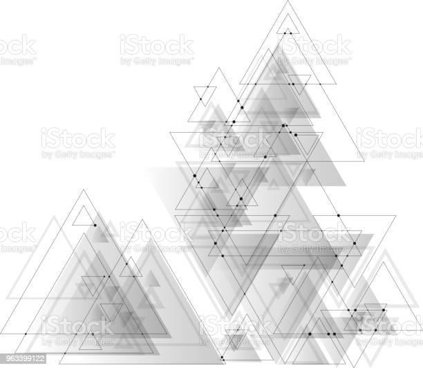Abstrakcyjne Wielokątne Tło Wektorowe Z Szarymi Trójkątami Łączącymi Kropki I Linie Struktura Połączeń - Stockowe grafiki wektorowe i więcej obrazów Abstrakcja