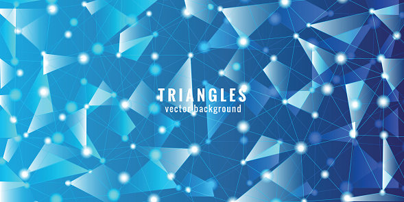 Abstract Polygonal - Molecules technology with polygonal shapes on blue background