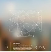 Abstract vector geometric triangular wired monitor shape, on blurred background, with place for text, 10 EPS.