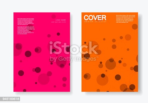 Abstract polygonal network shapes with connecting dots and lines. Cover technology template.