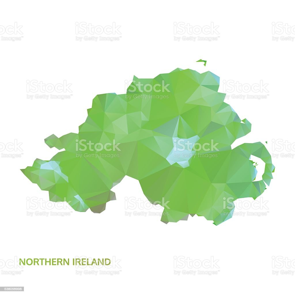 abstract polygonal northern ireland map, poly low isolated vector. polygon map vector art illustration