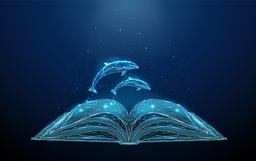 Abstract polygonal open book with jumping dolphins