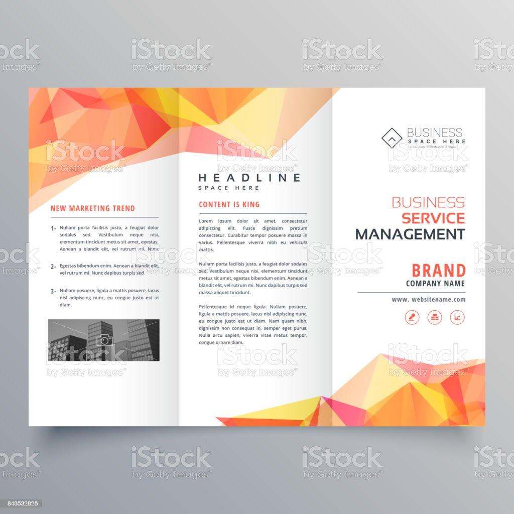 abstract polygonal orange shapes trifold brochure design vector art illustration