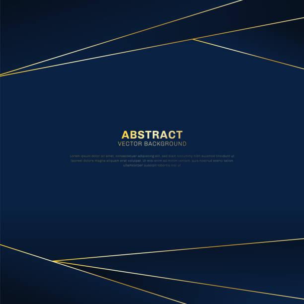 抽象多邊形圖案豪華在深藍色標題背景與金黃線。 - 海軍藍 幅插畫檔、美工圖案、卡通及圖標