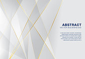 Abstract polygonal pattern luxury on white and gray background with golden lines. Vector illustration