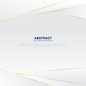 Abstract polygonal pattern luxury on white and gray header background with golden lines. Vector illustration