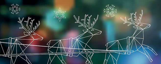 abstract polygonal reindeer  line illustration on blurred christmas background