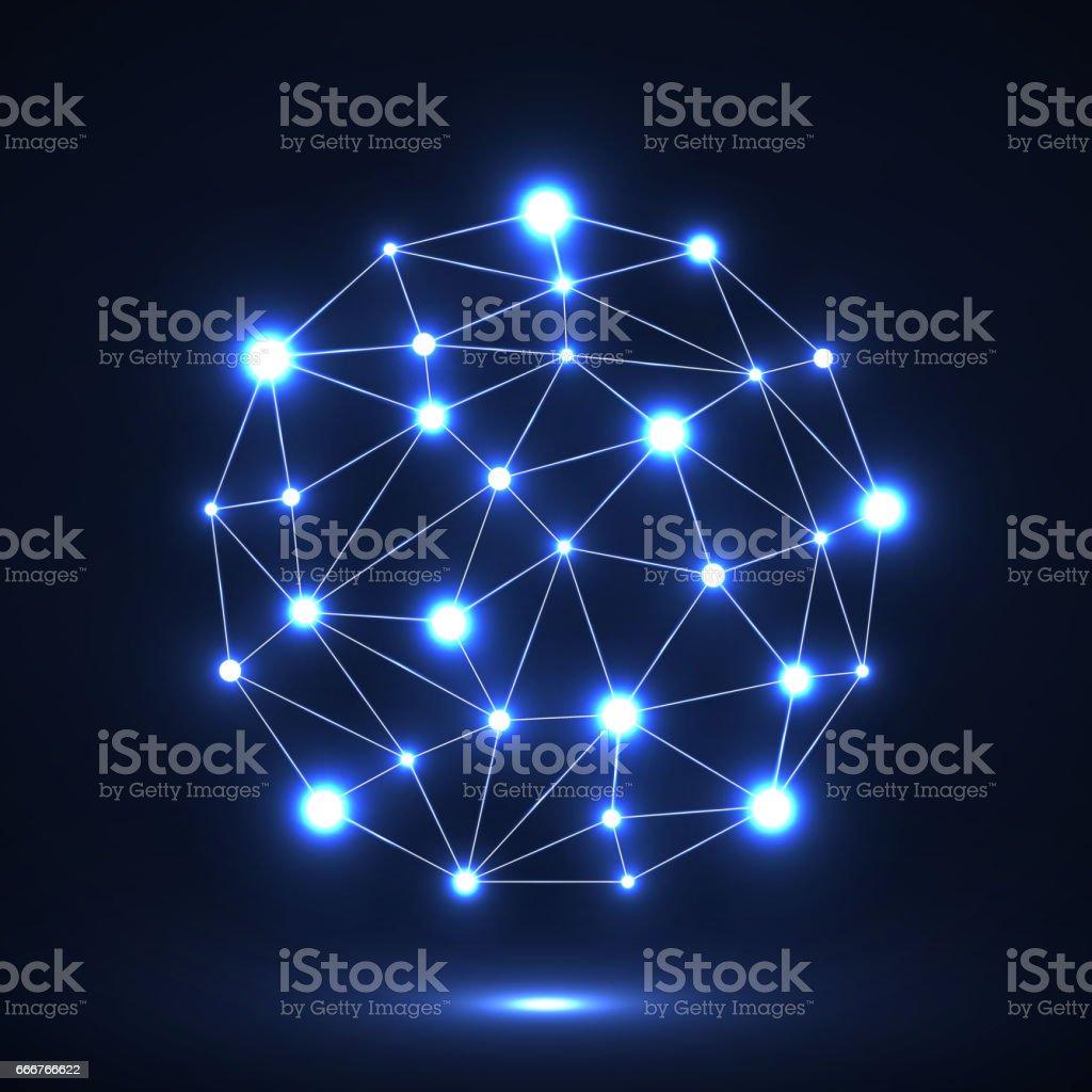 Abstract polygonal sphere with glowing dots abstract polygonal sphere with glowing dots - immagini vettoriali stock e altre immagini di astratto royalty-free