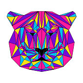 Abstract polygonal tiger portrait.