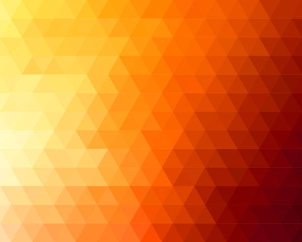 abstract polygonal triangles poster - orange color stock illustrations