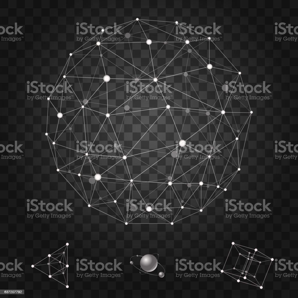 Abstract polygonal wireframe icons set vector illustration vector art illustration