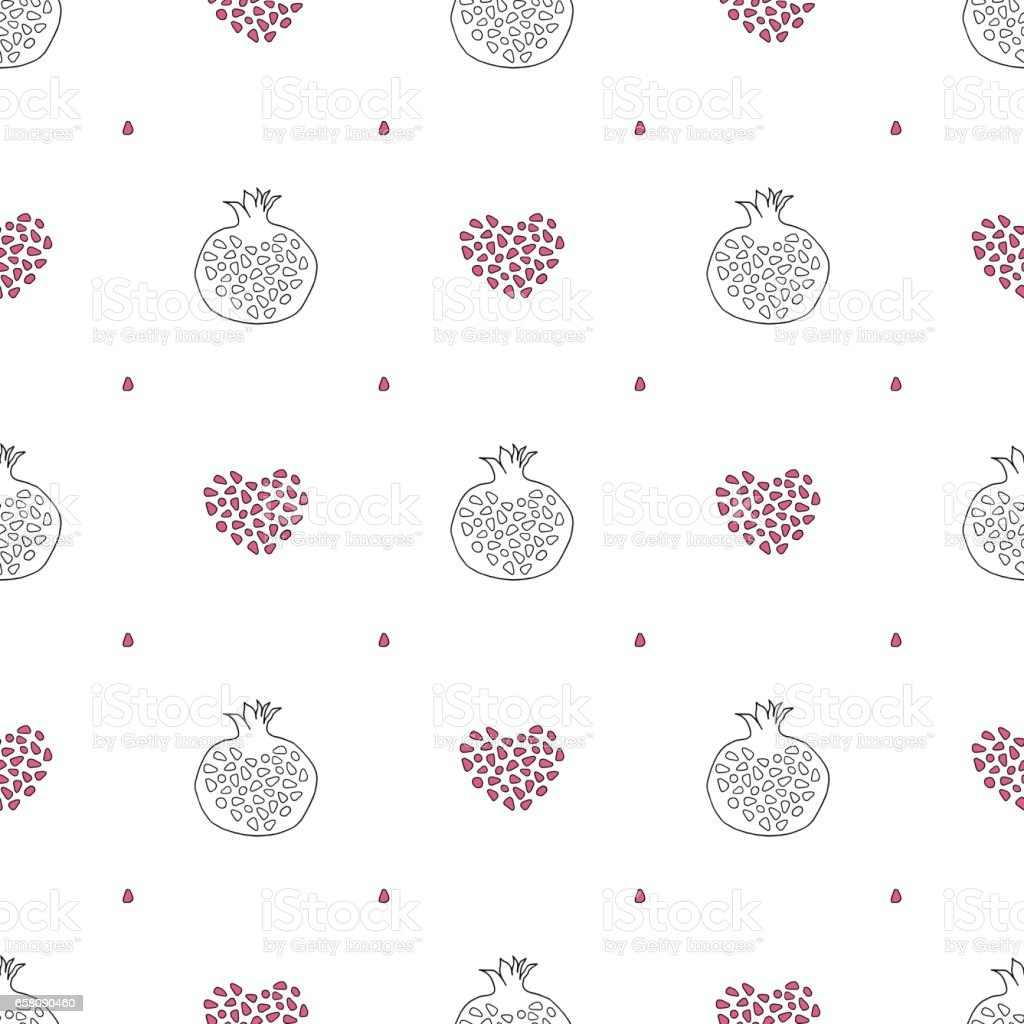 Abstract pomegranate and stylized hearts pattern. Hand drawn seamless vector background. royalty-free abstract pomegranate and stylized hearts pattern hand drawn seamless vector background stock vector art & more images of abstract
