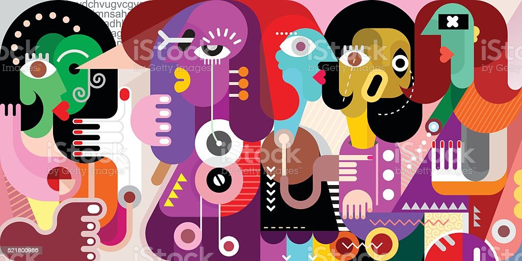 Abstract Portrait of Five Persons vector art illustration