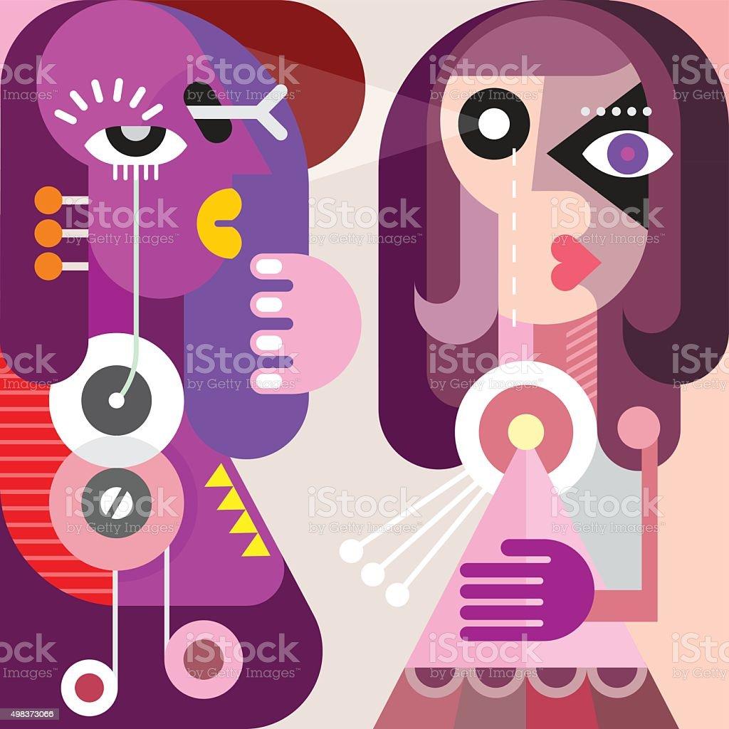 Abstrait Portrait de deux jeunes femmes - Illustration vectorielle