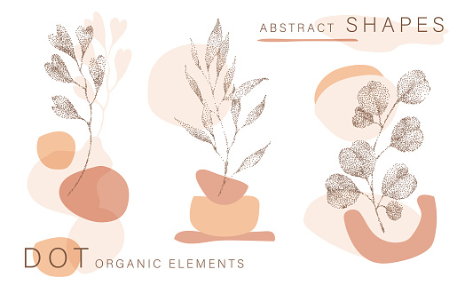 Abstract poster background minimal shapes, half tone leaves dot design elements, leaf. Doodlies Art print, terracota shapes