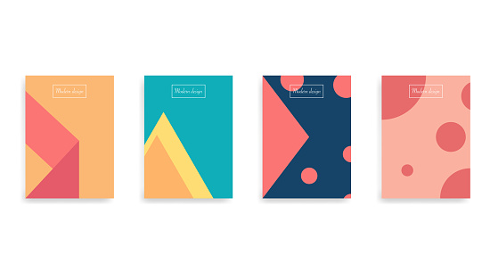 Abstract poster cover. Flat geometric brochure. Minimal simple book flyer. Journal layout in modern style. Editable title in square frame. Isolated poster page. Vector EPS 10.