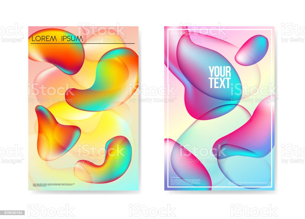 Abstract Poster Liquid Bubble Background. Fluid Bright Gradient Shapes Brochure Template. Banner Identity Card Design Placard. Vector illustration royalty-free abstract poster liquid bubble background fluid bright gradient shapes brochure template banner identity card design placard vector illustration stock illustration - download image now