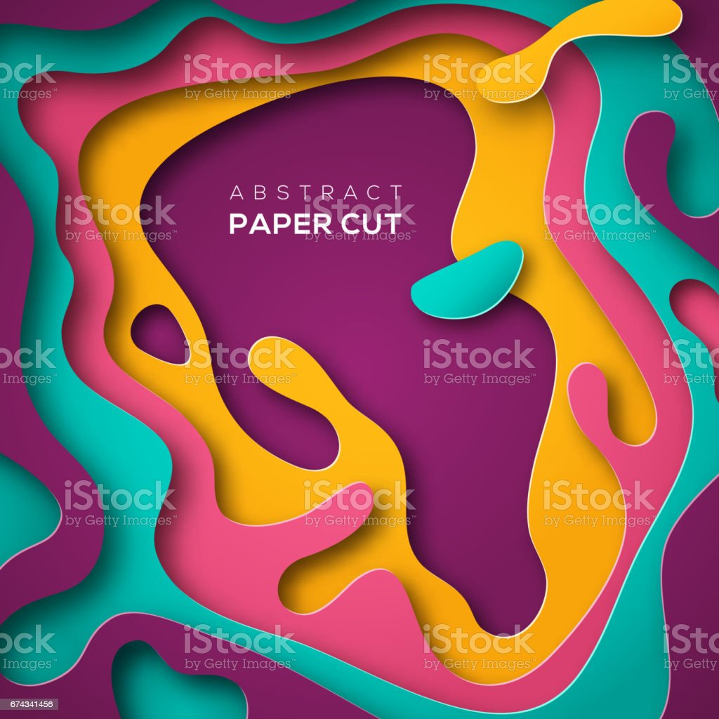 Abstract poster with paper cut shape vector art illustration