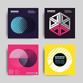 Abstract Poster Set. Art Graphic Backgrounds in Retro Swiss Flat Style. Isolated Figure, Shape, Icon, Logo for Covers, Placards, Posters, Flyers, Banner Designs. Vector Illustration in Violet, Pink