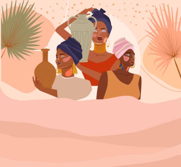 illustrazioni stock, clip art, cartoni animati e icone di tendenza di abstract posters with african women in turban - woman portrait forest