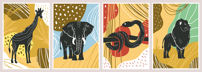 Abstract posters with animals