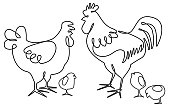 Abstract poultry family