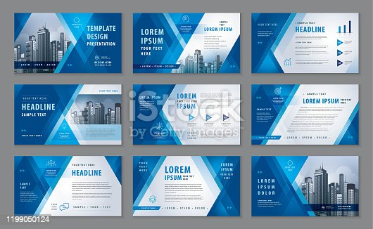istock Abstract Presentation Templates, Abstract Geometric Blue Triangle Background vector 1199050124