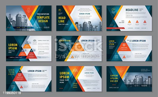 istock Abstract Presentation Templates, Abstract Geometric Red Triangle Background vector 1199050118