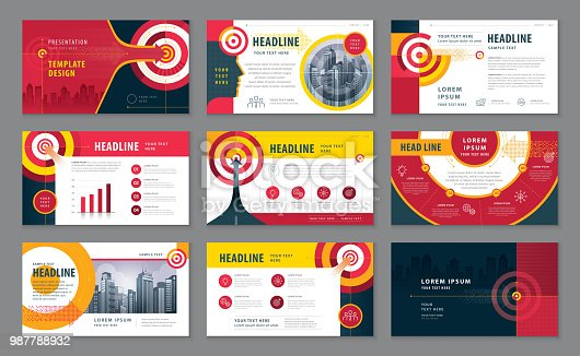Abstract Presentation Templates Design Set, Infographic elements, Black And Red Abstract Arrow and Target Background vector, Path to the goal, Concept growth to success, Reach the target,