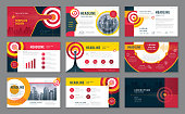 Abstract Presentation Templates Design Set, Infographic elements, Abstract Arrow and Target Background vector,